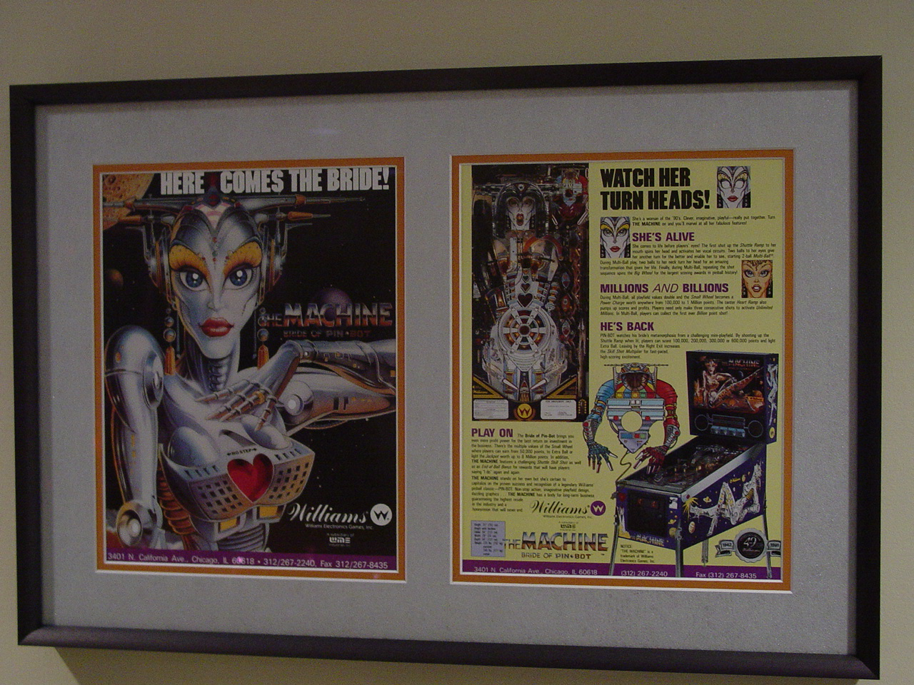 Framed Bride of Pinbot Flyer